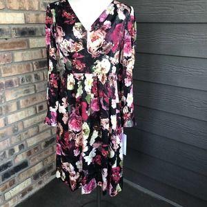 Calvin Klein black & pink floral dress size 6 NWT